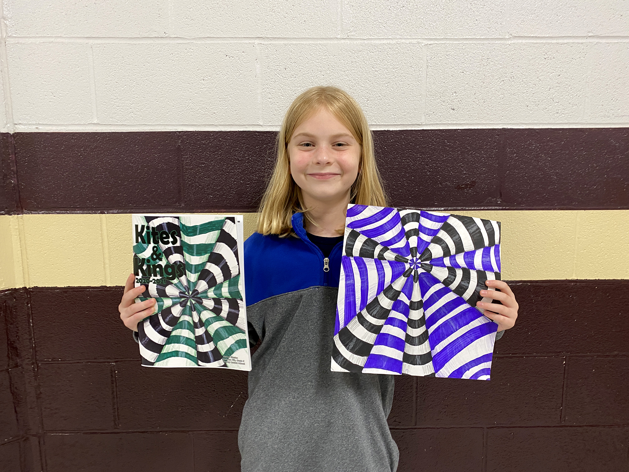 Ayla Gronwall with her art