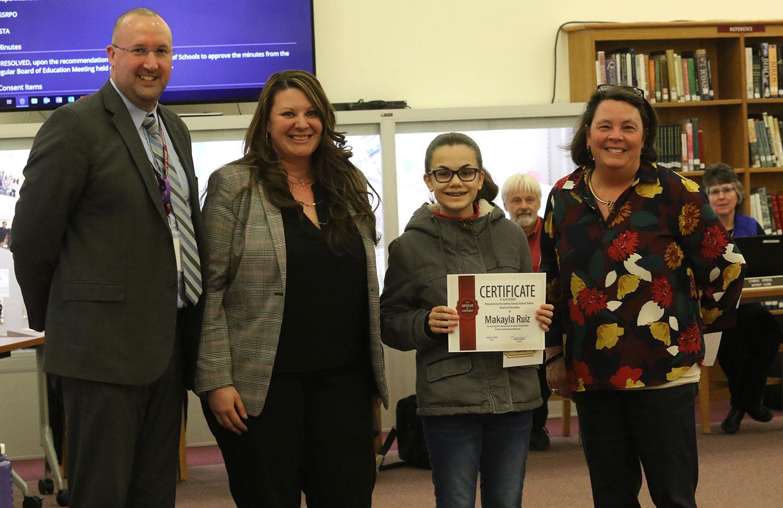 Makayla Ruiz recognized by Sidney BOE