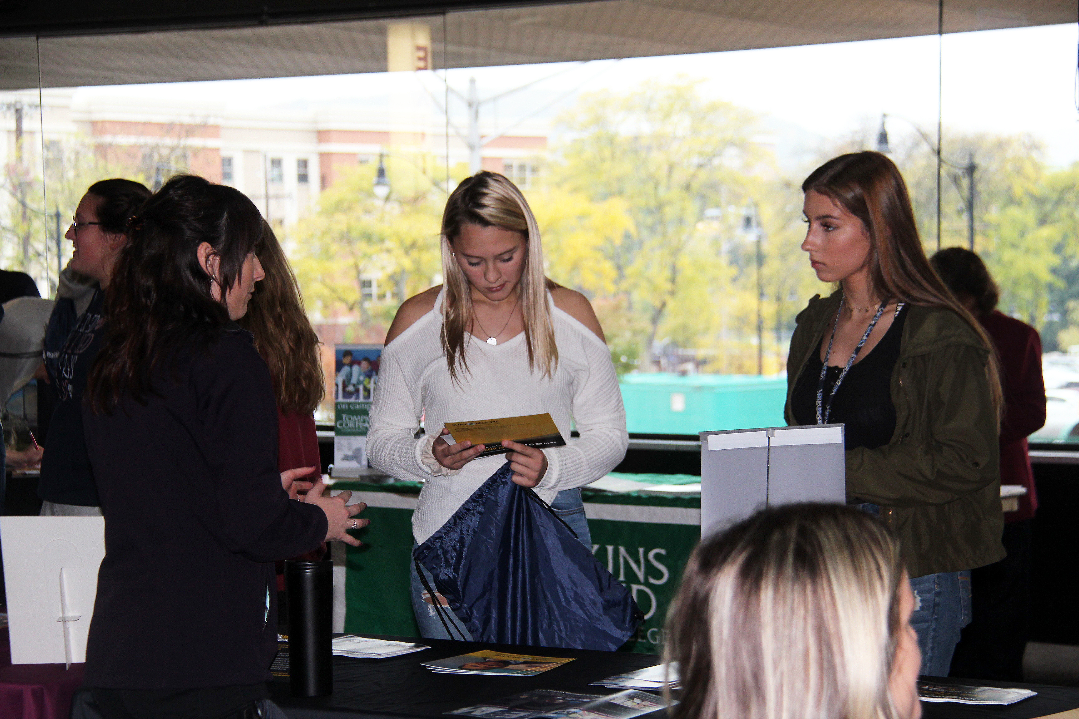 students at college day event