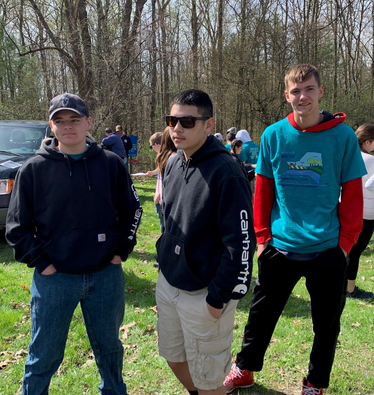 students outdoors at envirothon competition