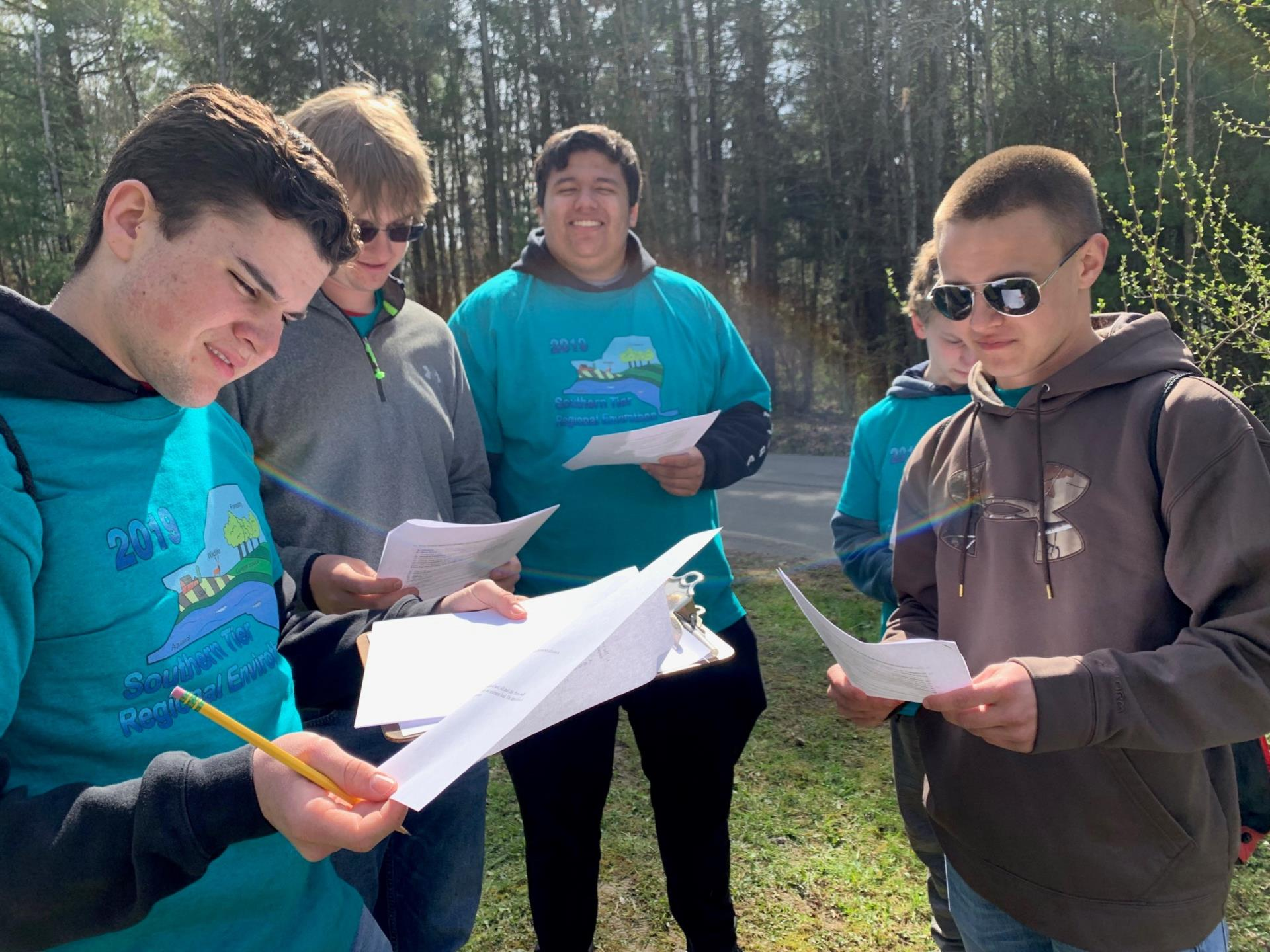 students working in envirothon competition