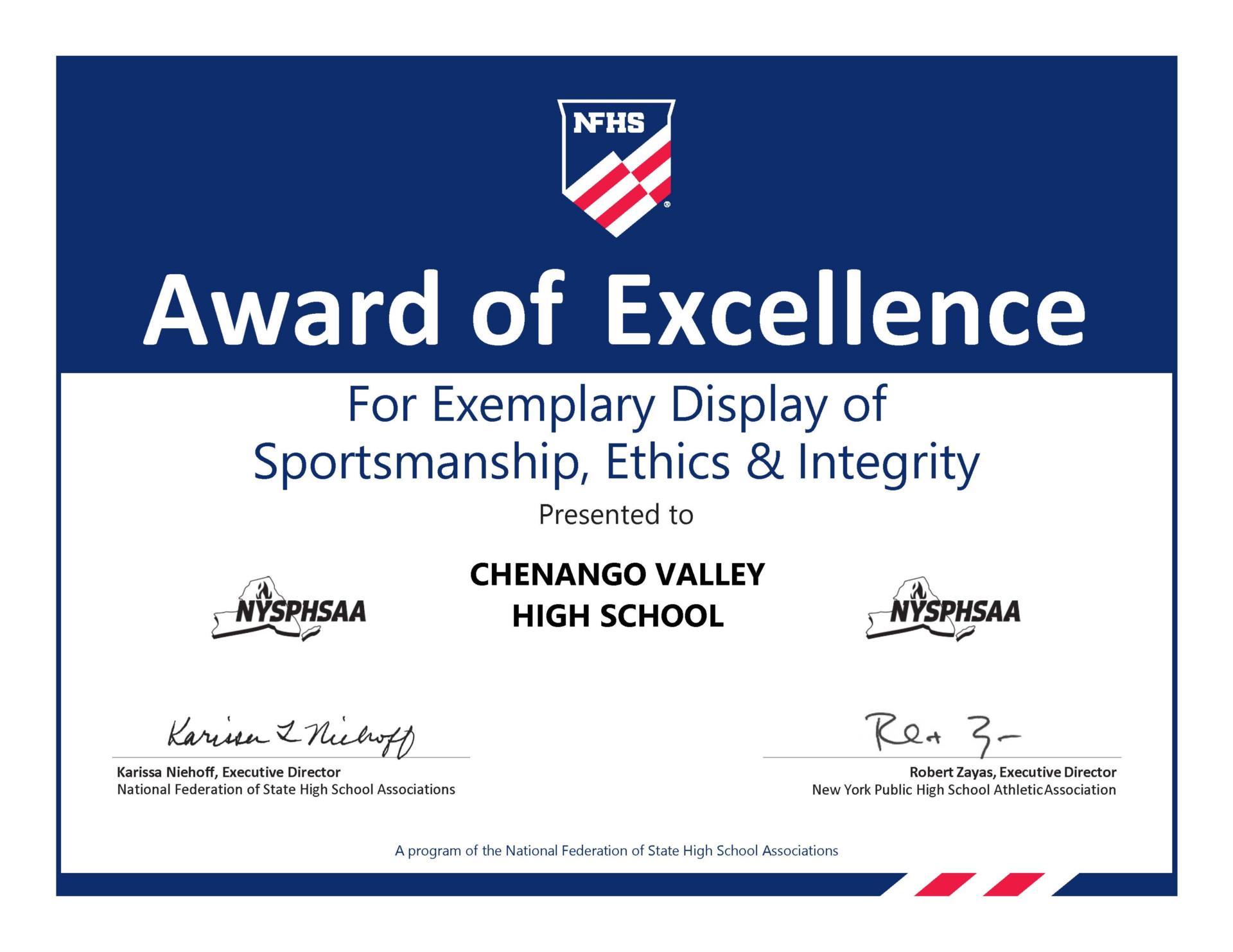 2020 Sportsmanship Promotion Certificate