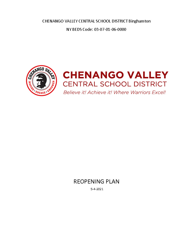 Chenango Valley CSD Comprehensive Reopening Plan 2020 Cover