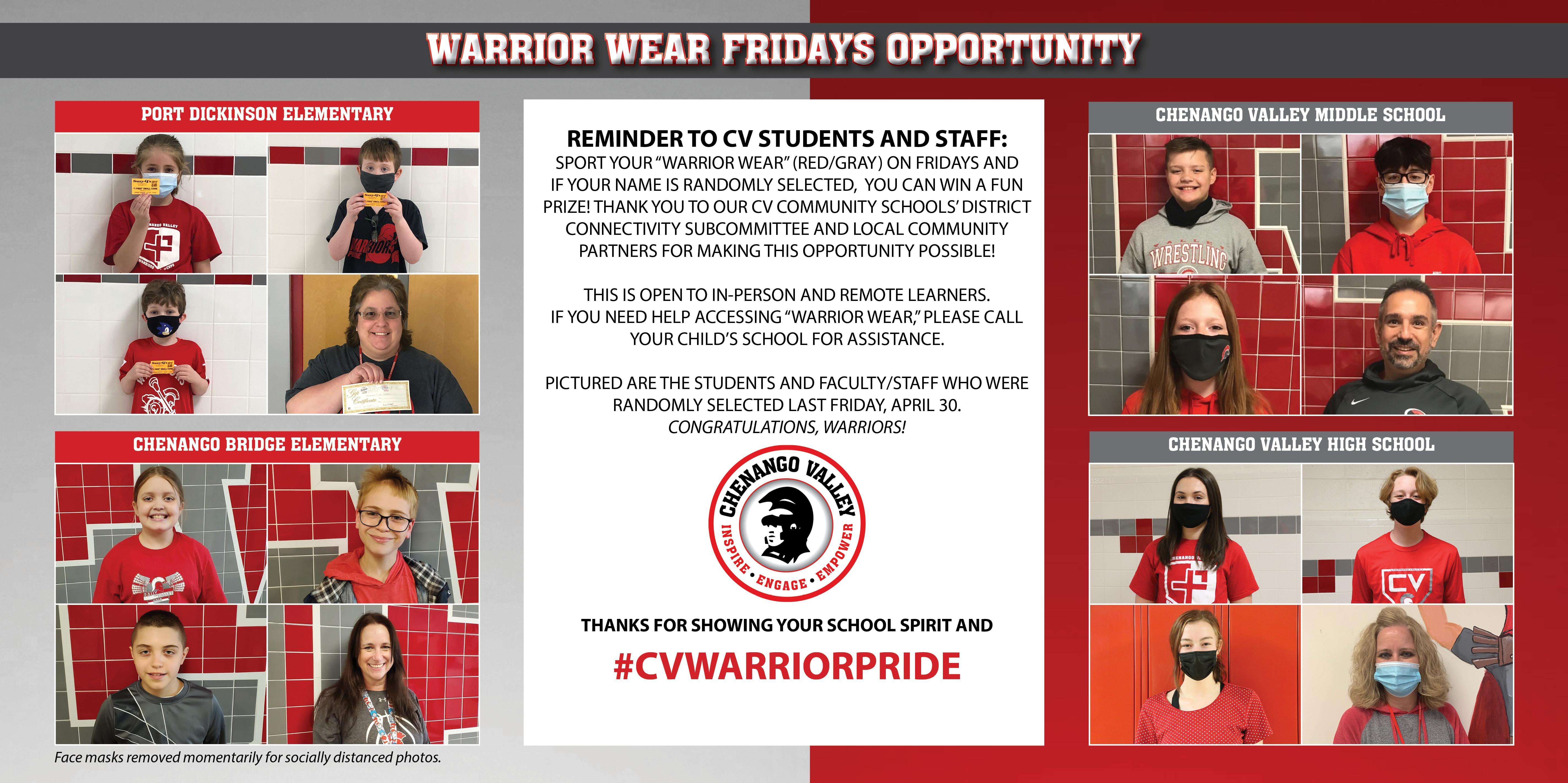 April 30 Warrior Wear Friday winners