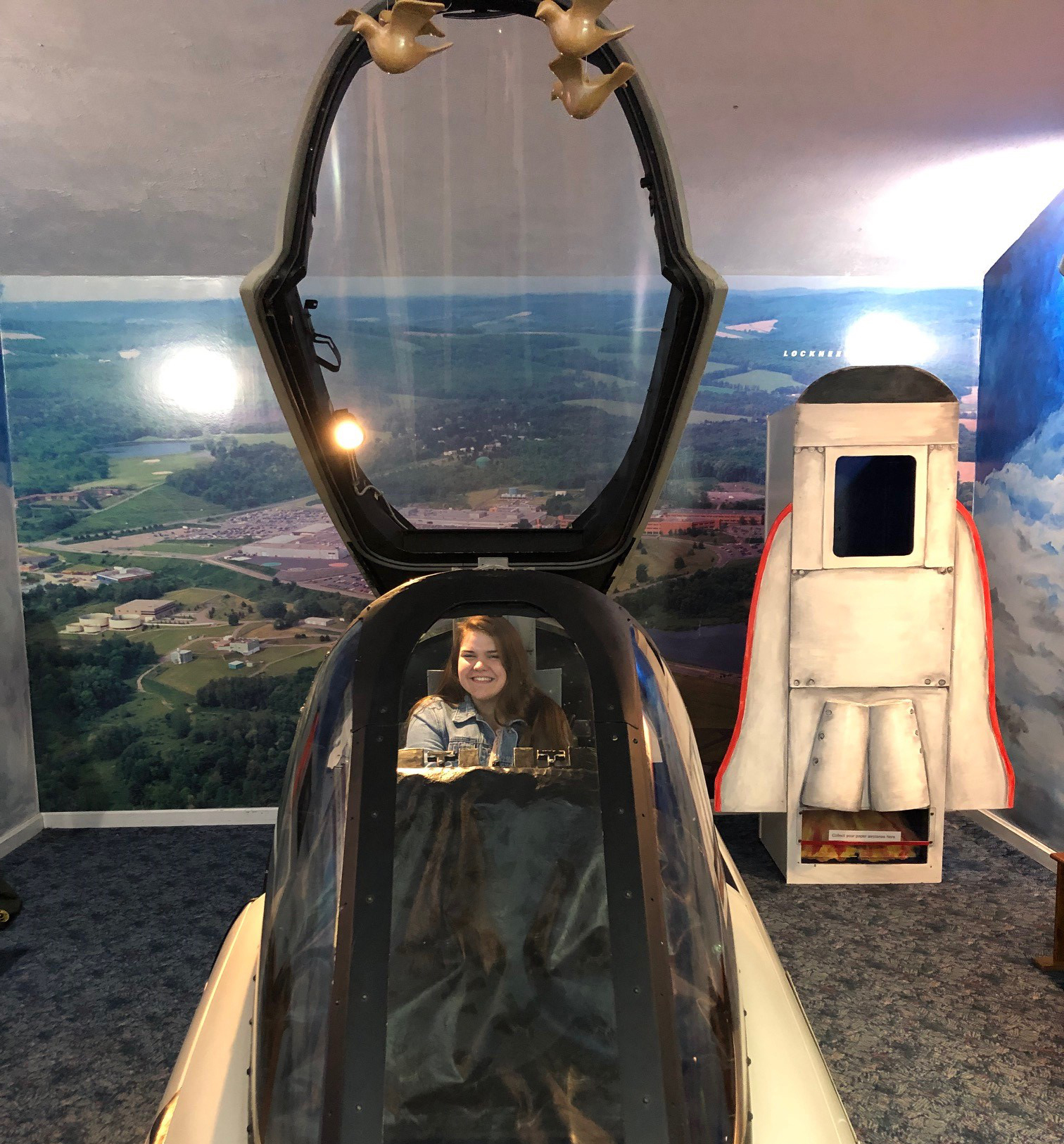 student inside of space ship activity