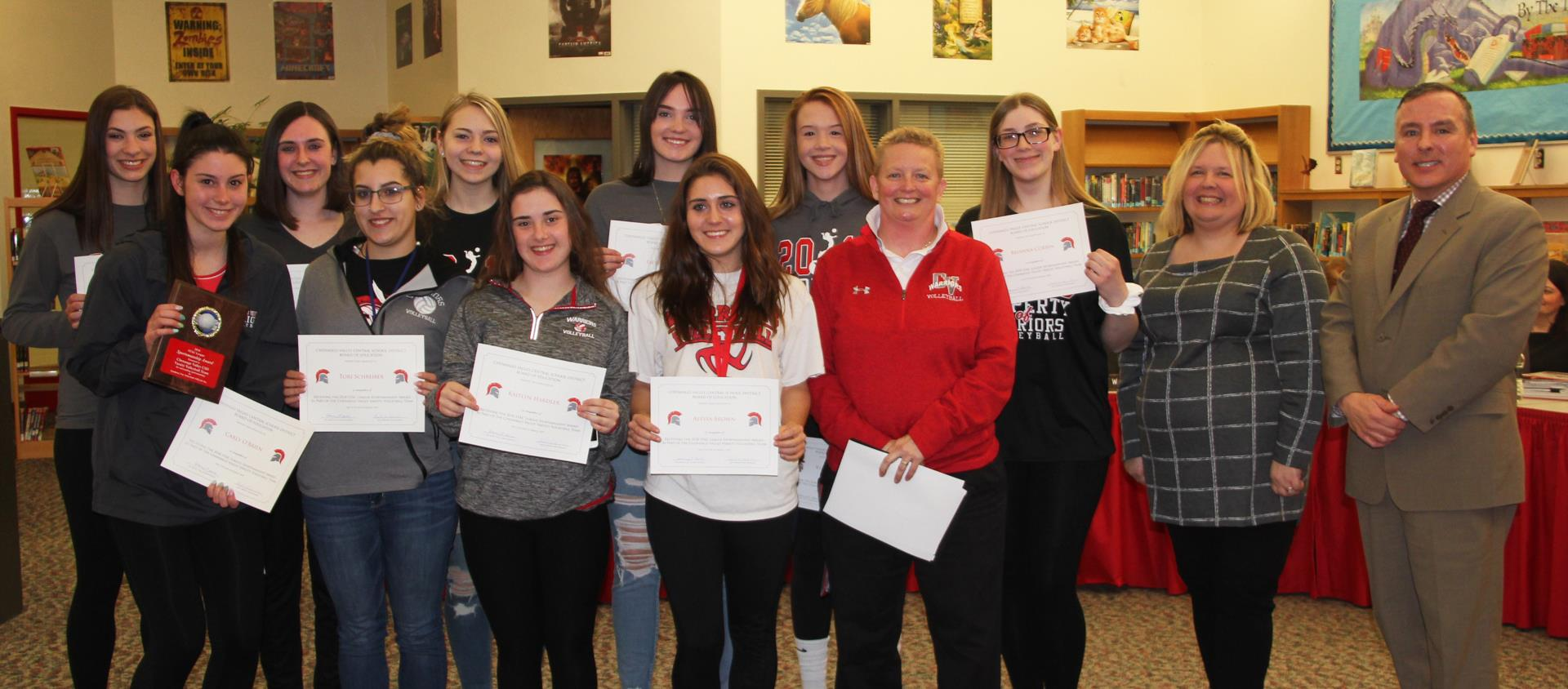 volleyball team being recognized