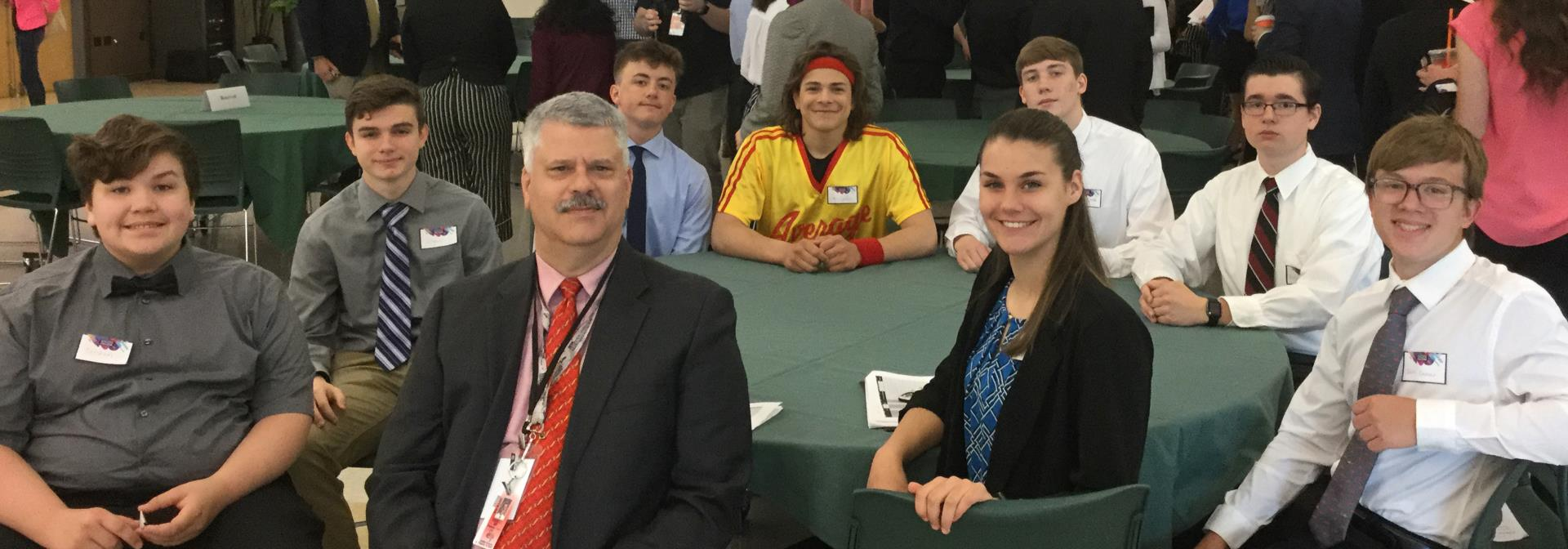 students and teacher at greater binghamton scholastic challenge