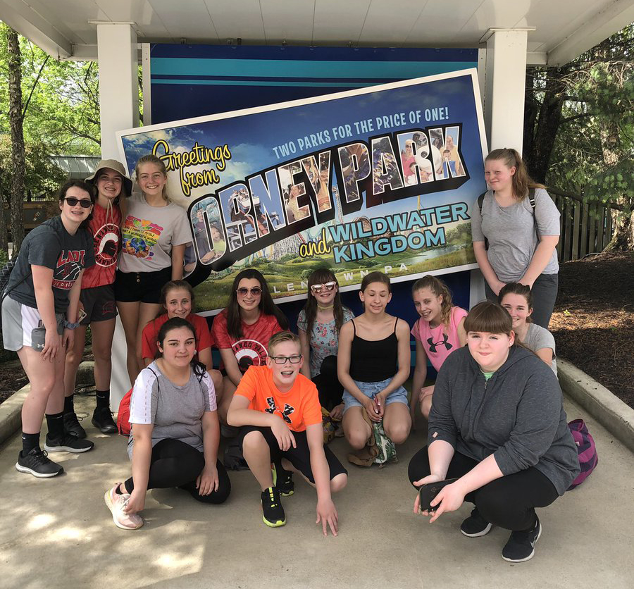 students in front of dorney park sign