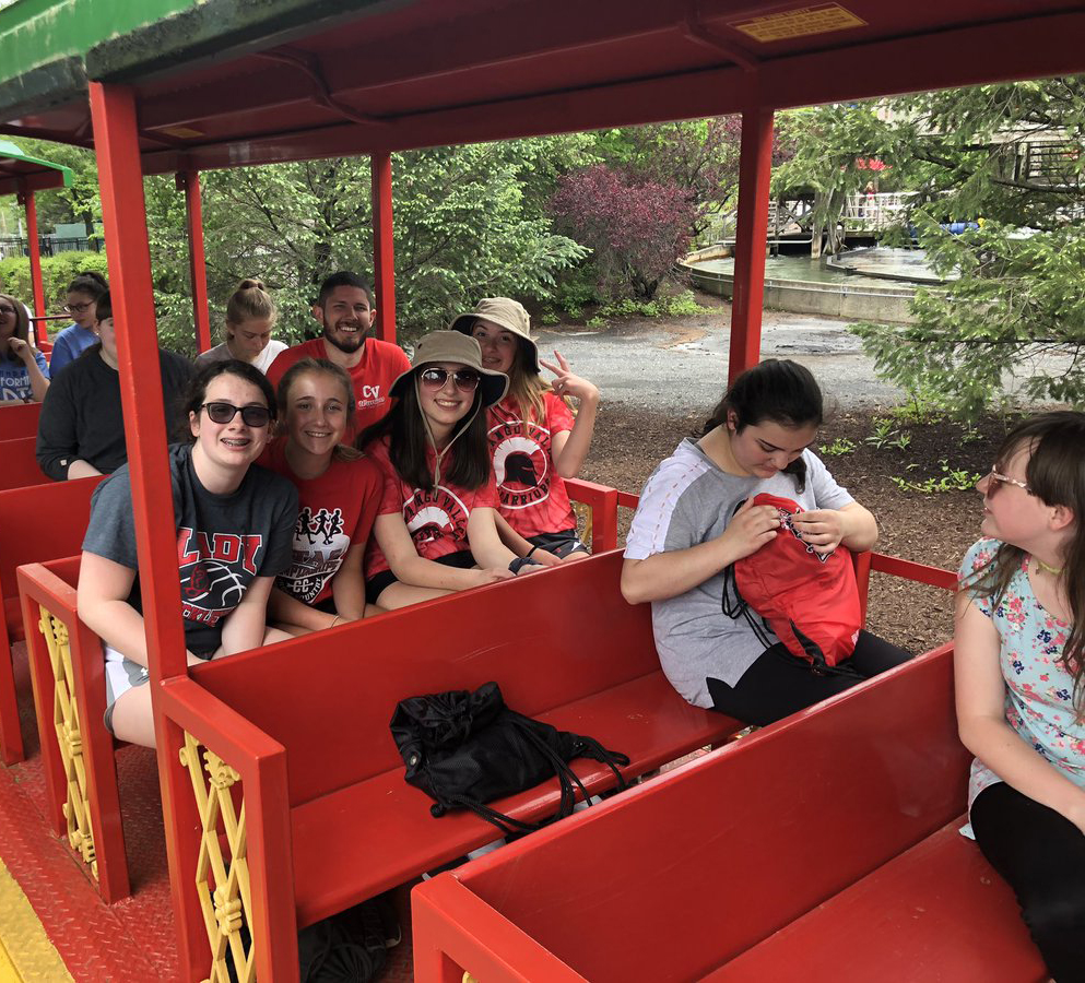 students and staff on ride