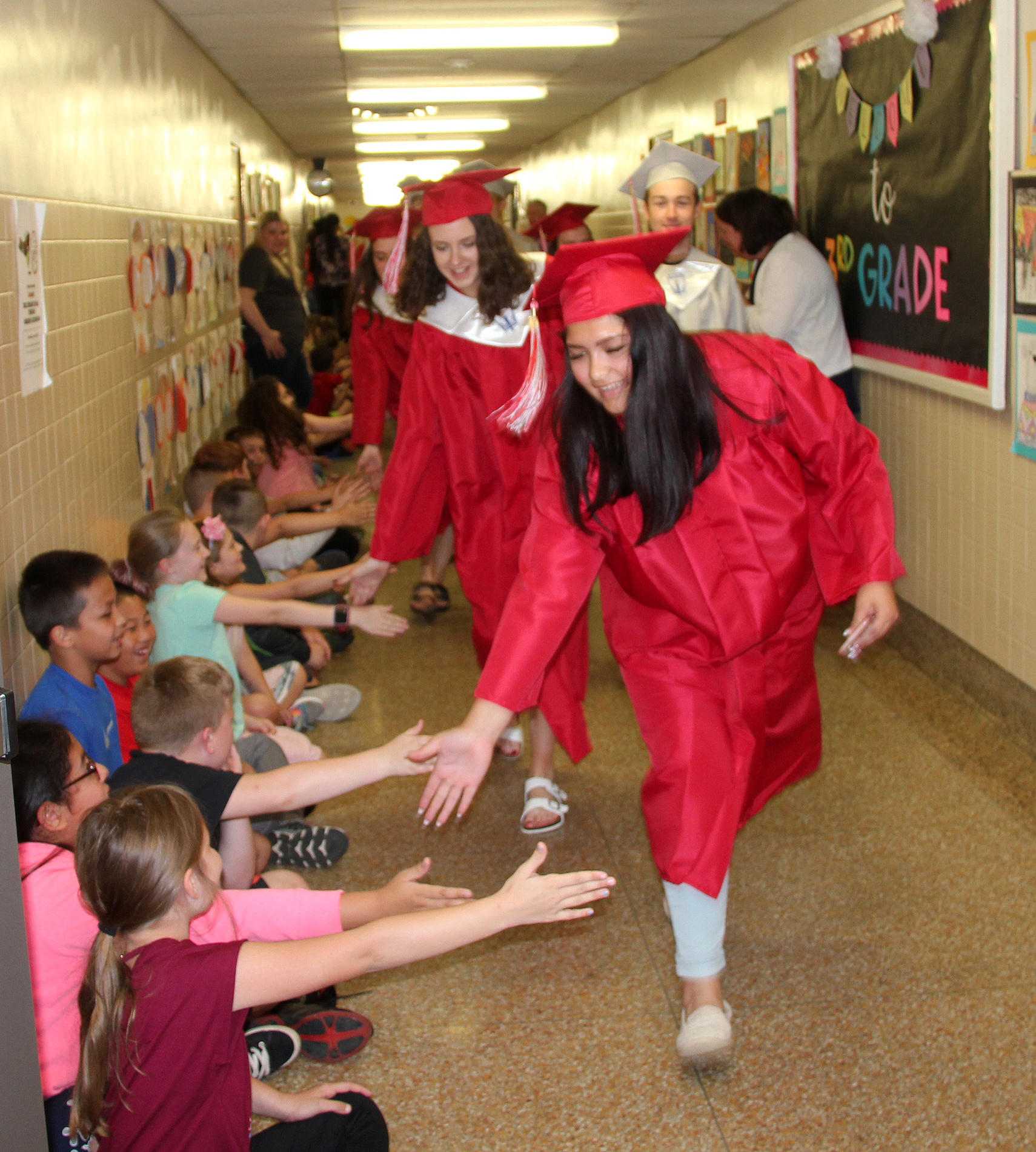 students taking part in senior walk