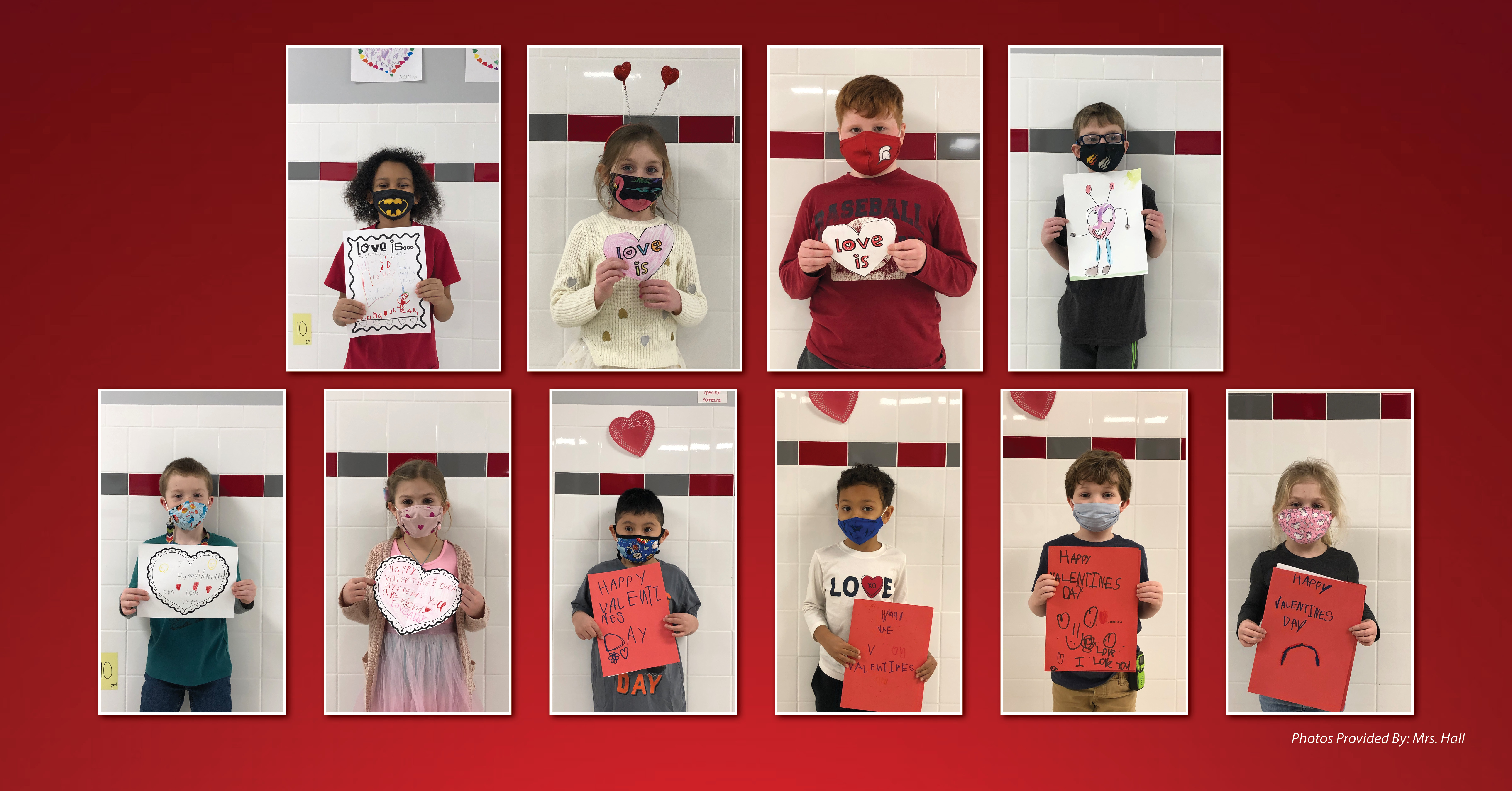 additional students with Valentine's Day cards
