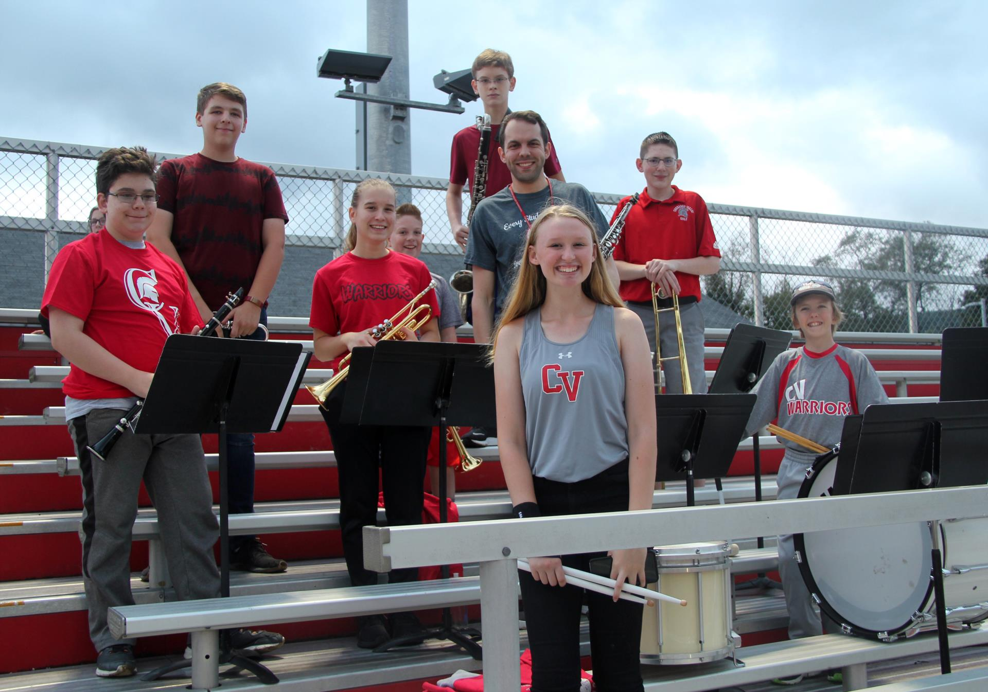pep band at rally in the valley
