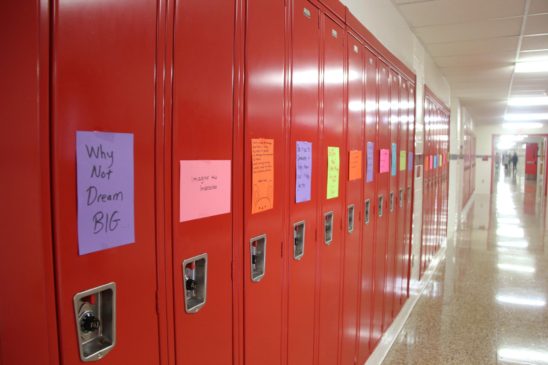 lockers lined with inspiring messages