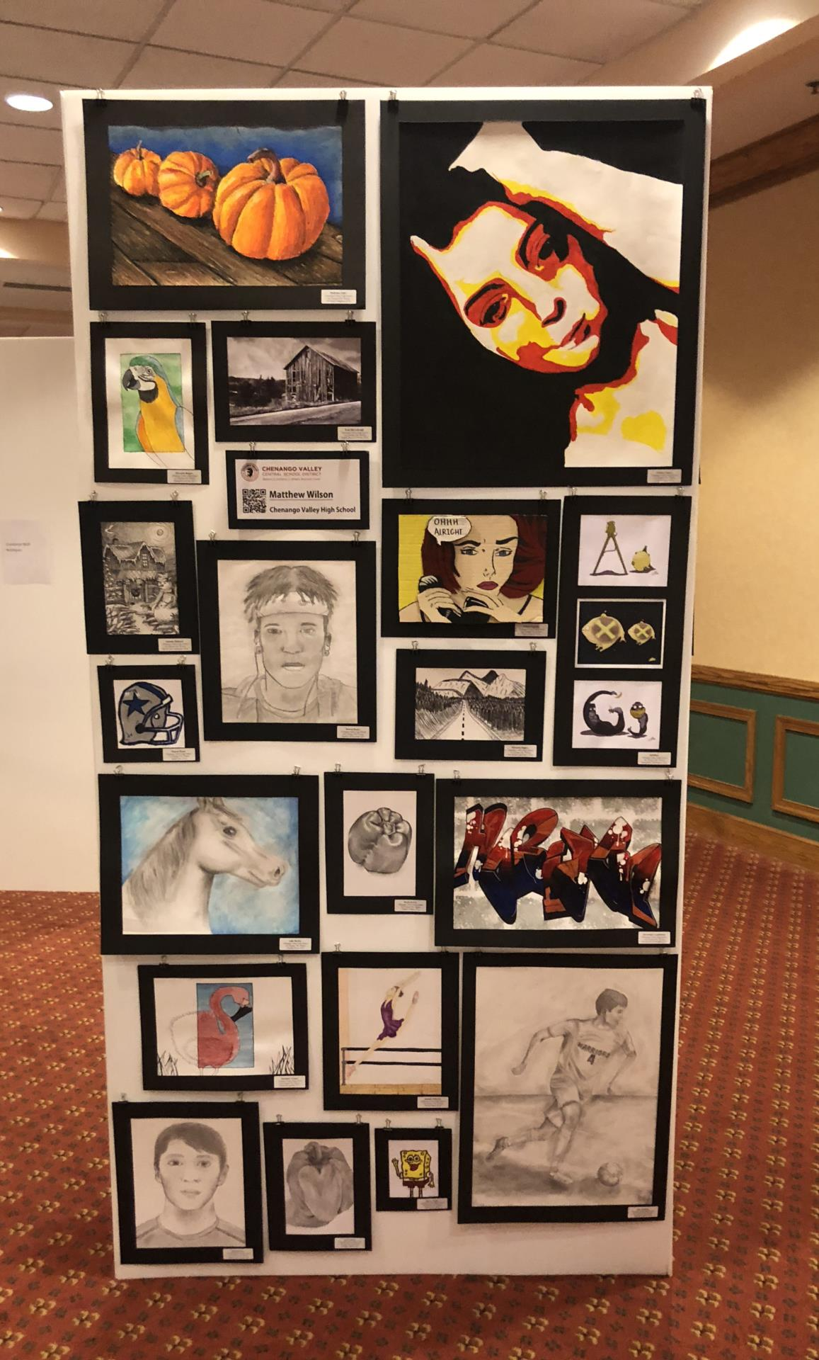 student art work on display