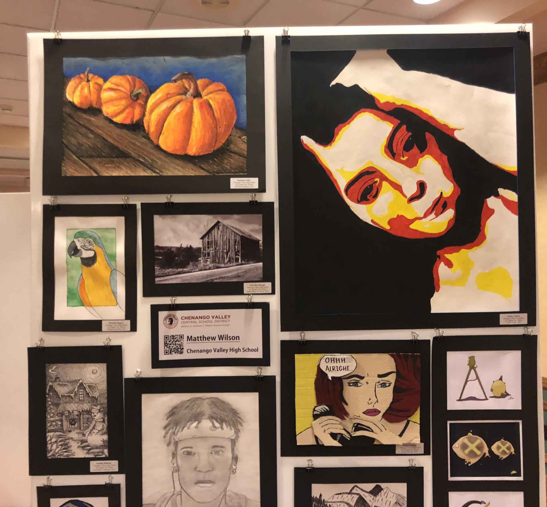 close up of top half of art work