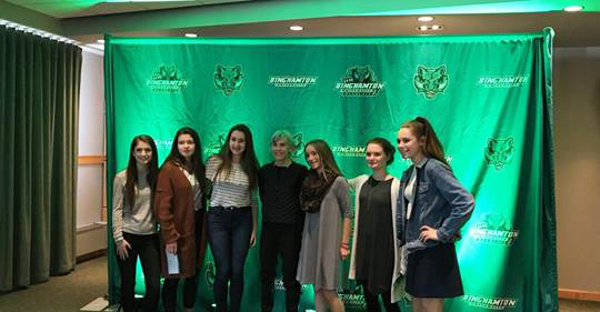 student athletes at binghamton university celebrating women luncheon