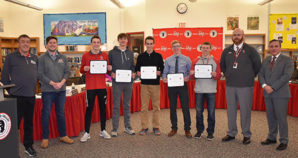 boys swim state qualifiers recognized at board meeting