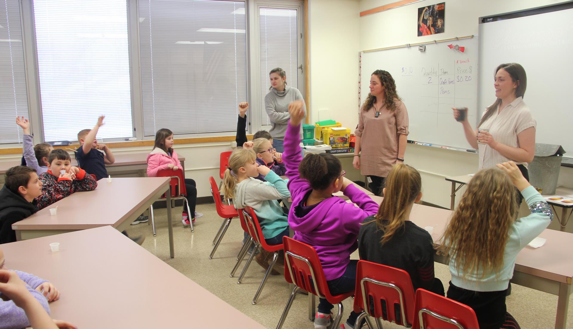representatives talking to students