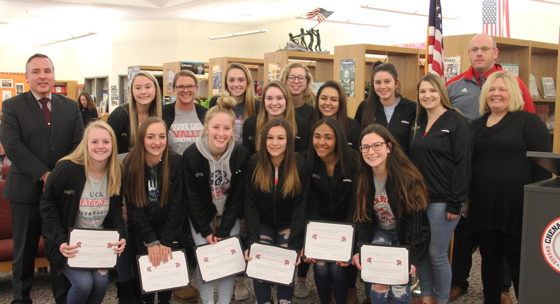 cheerleaders recognized at board meeting