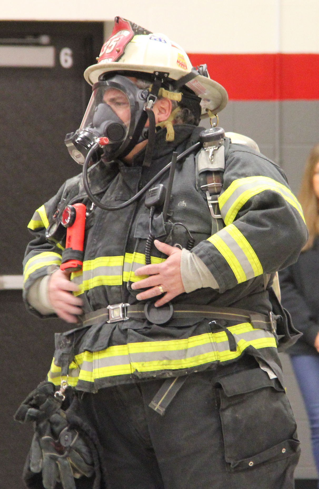 upclose of fire chief wearing gear