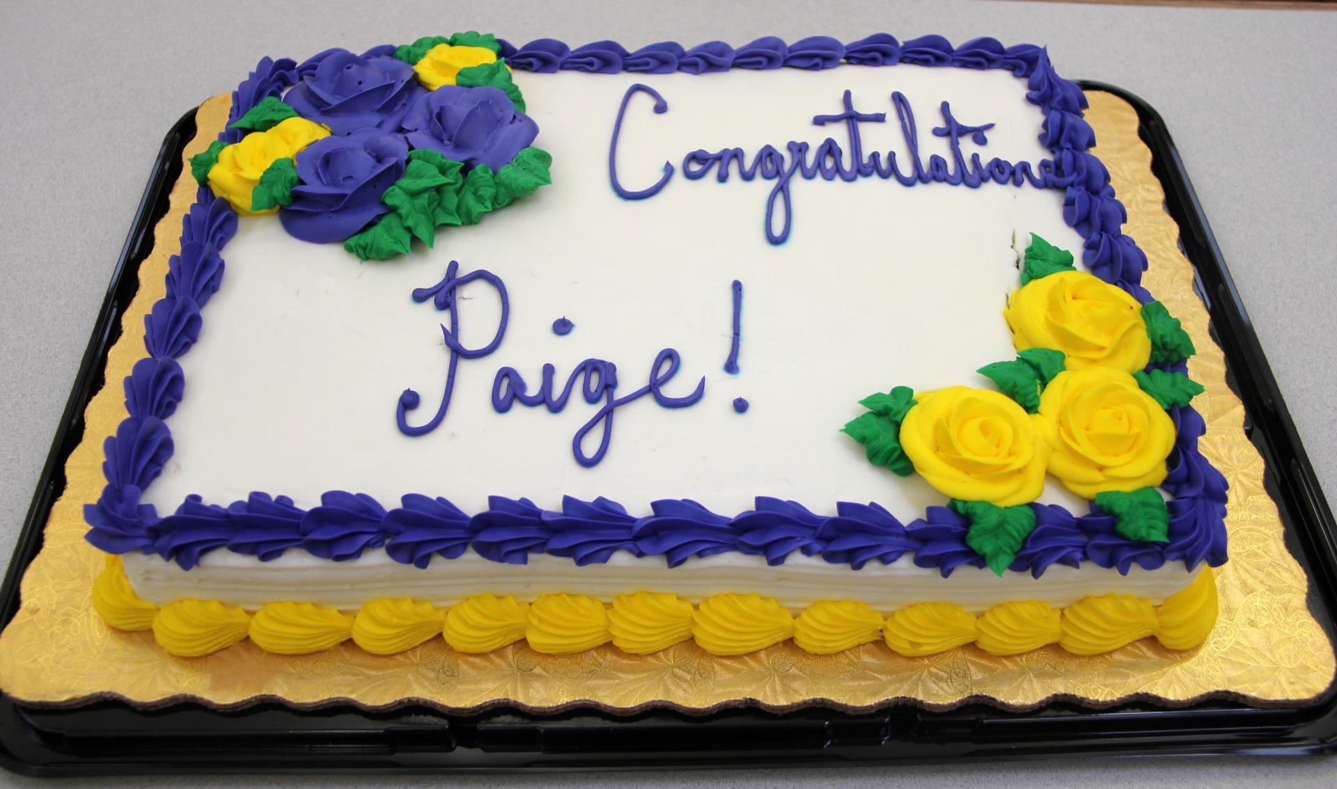 congratulations paige cake