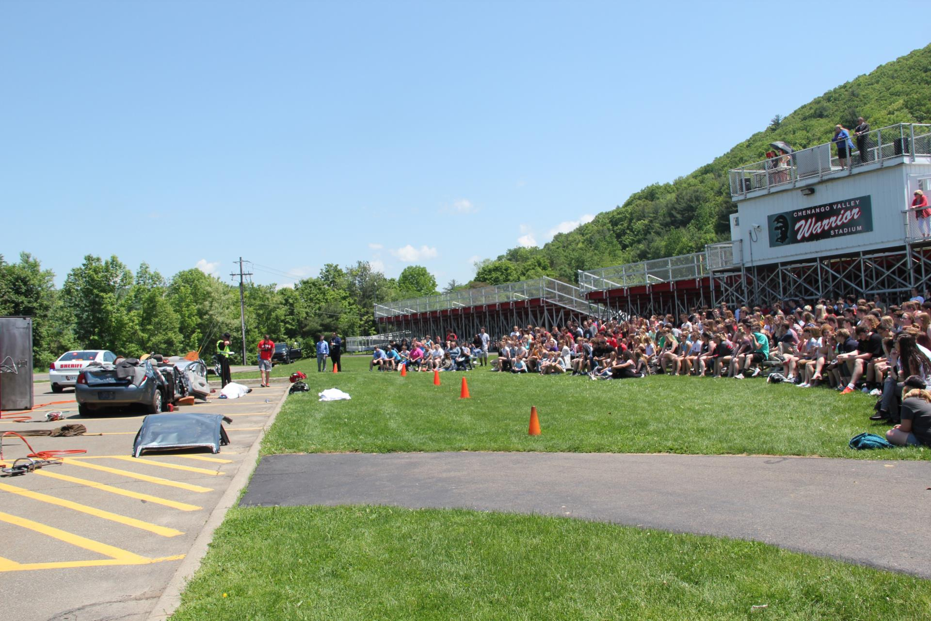 wide shot of students watching presentation
