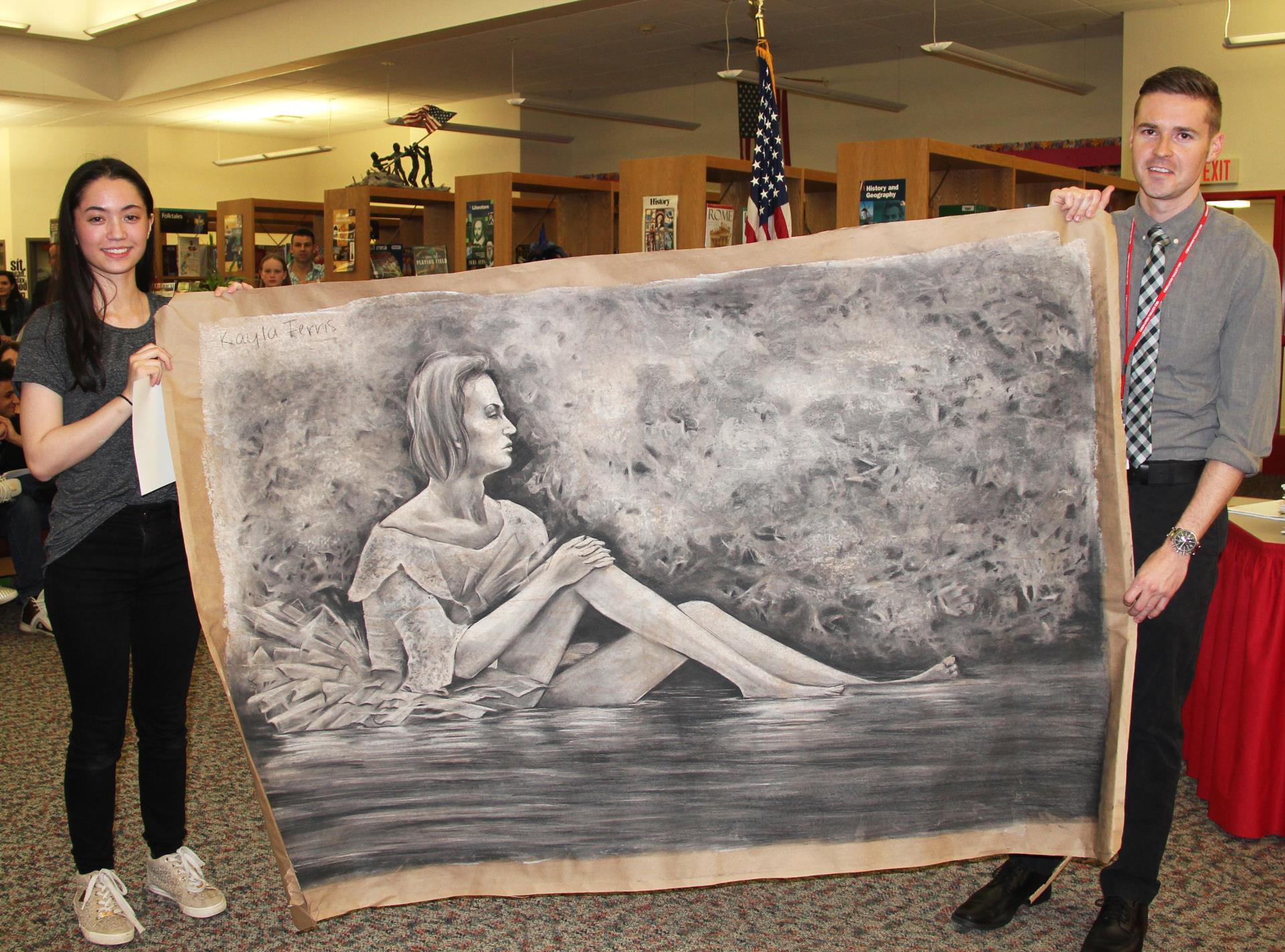 kayla ferris and mister wilson with kaylas drawing from 24 hour drawing marathon
