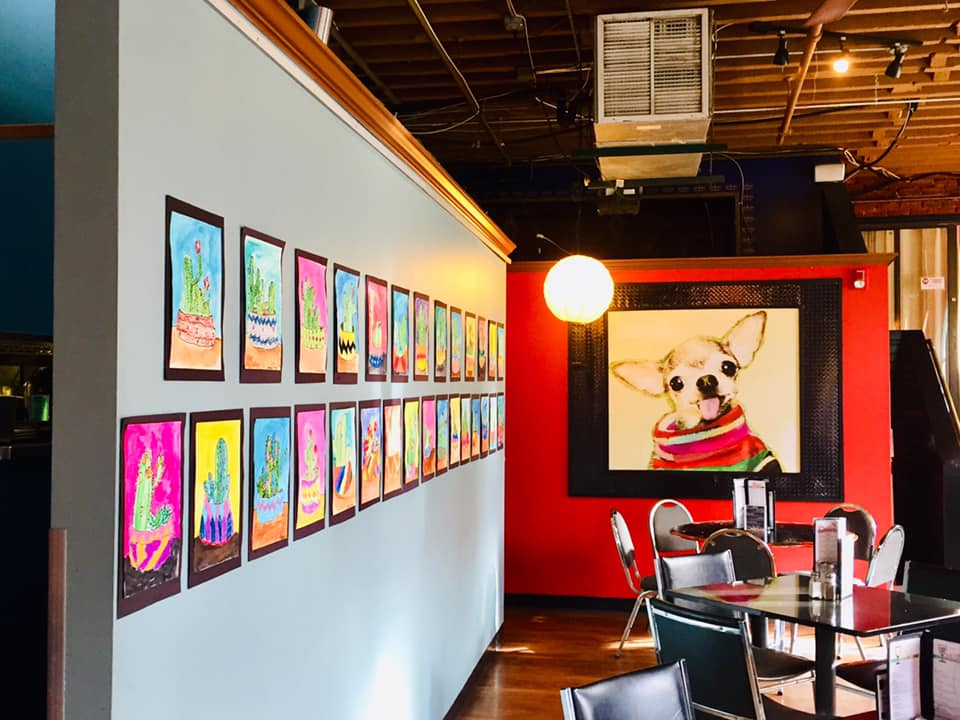 artwork on walls of restaurant