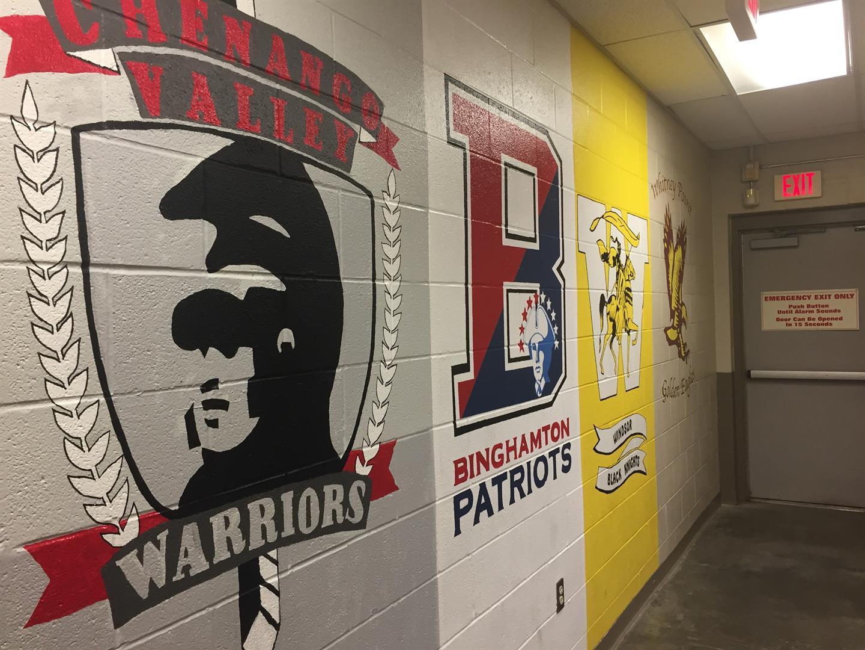 school murals in the back of lowes in binghamton
