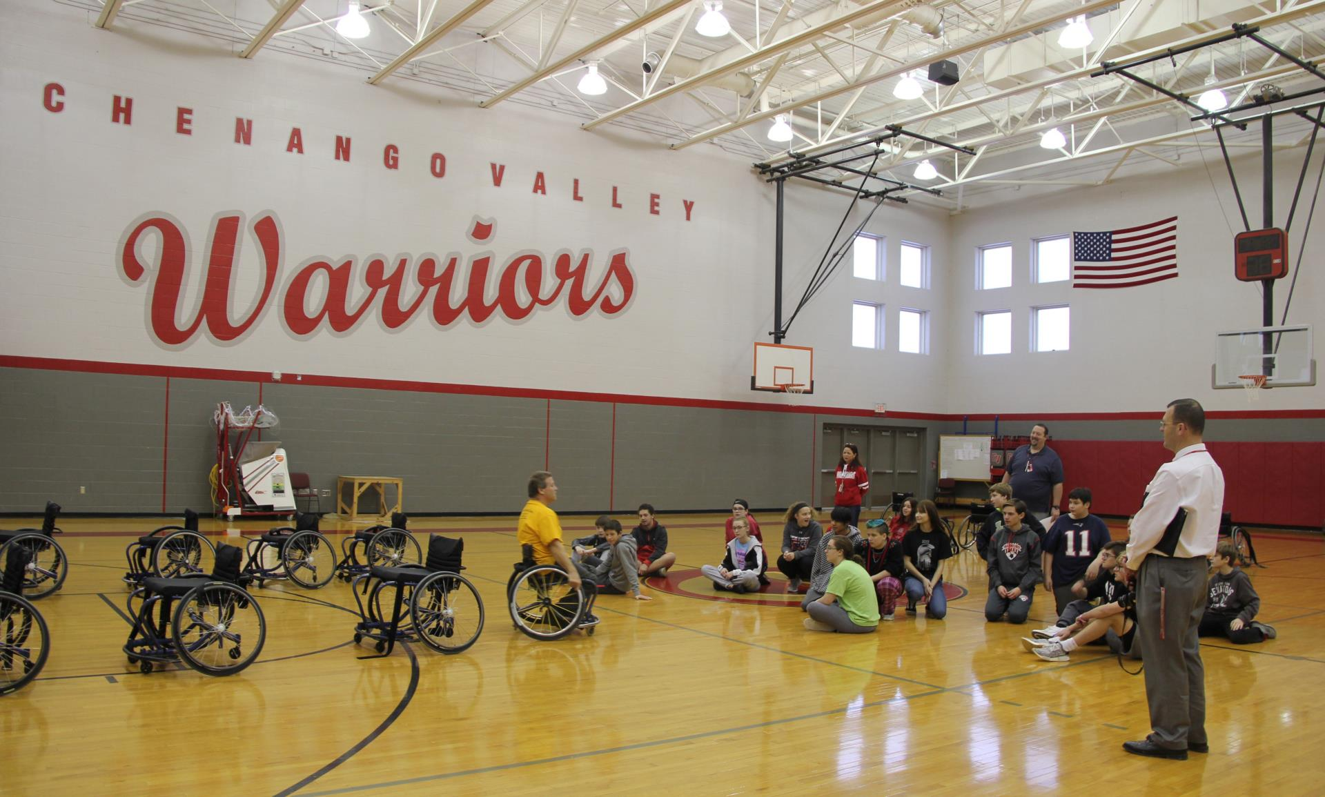 students learning about adaptive sports