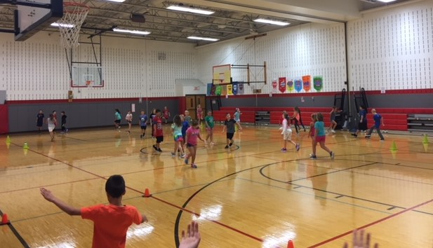 students in physical education class