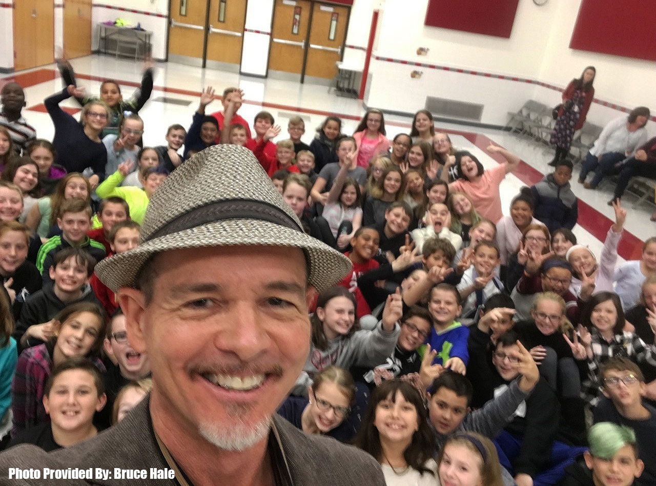 bruce hale and students in selfie