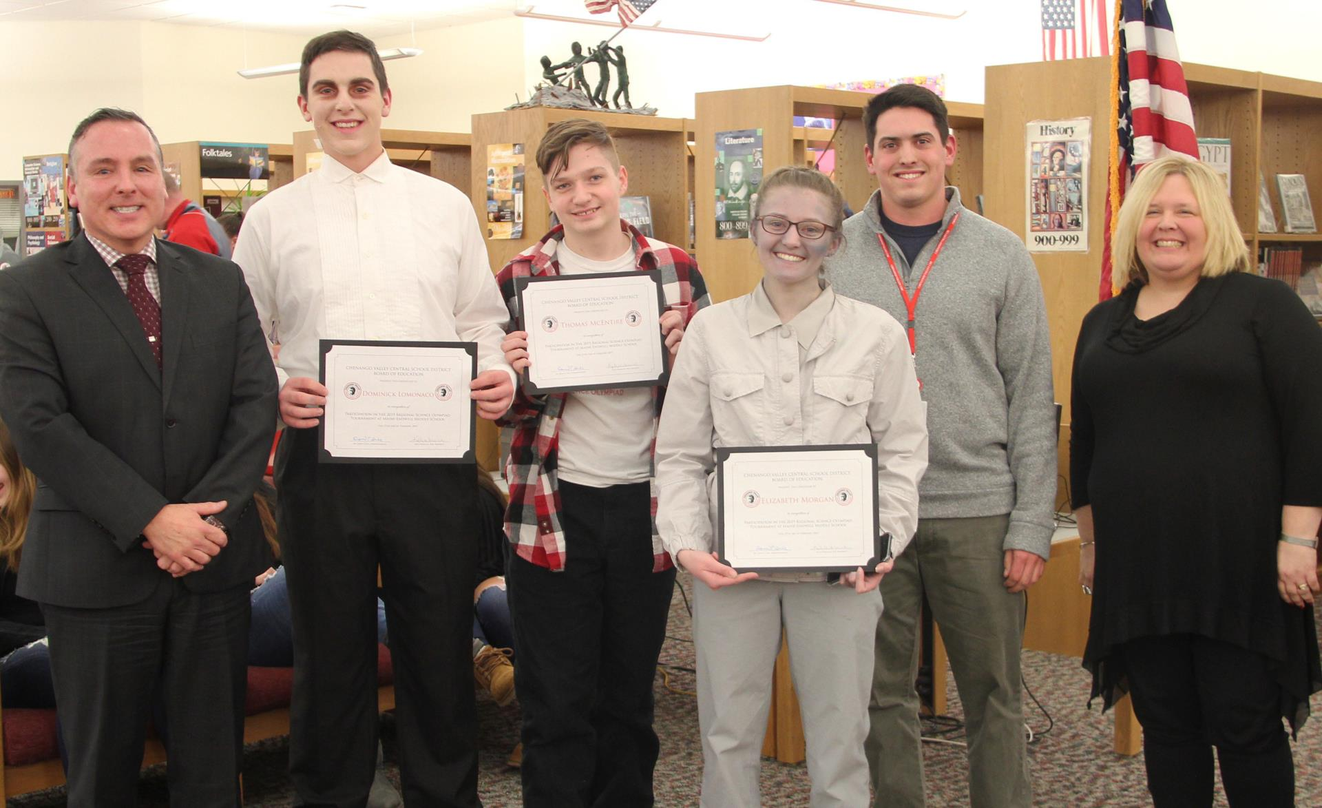 science olympiad participants recognized at board meeting