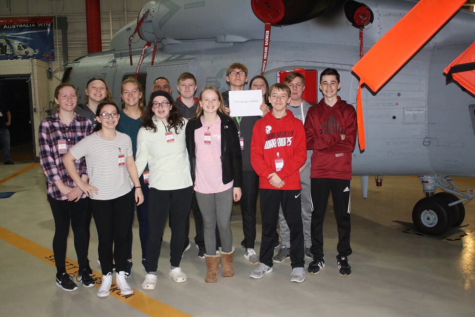students near aircraft