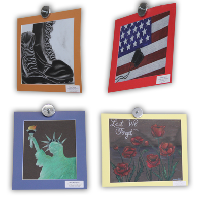 artwork pieces from veterans ceremony 2
