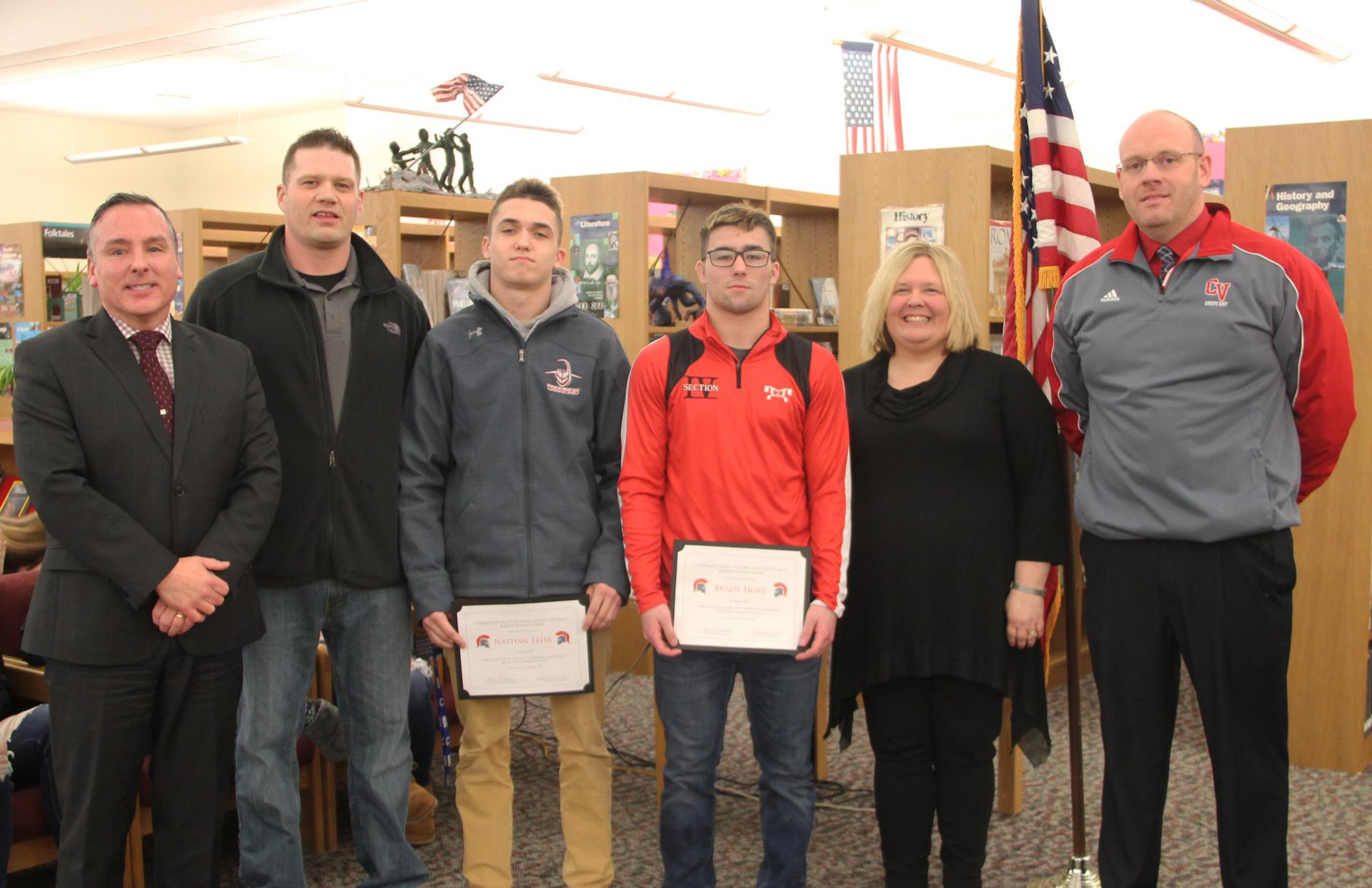 wrestlers recognized at board meeting