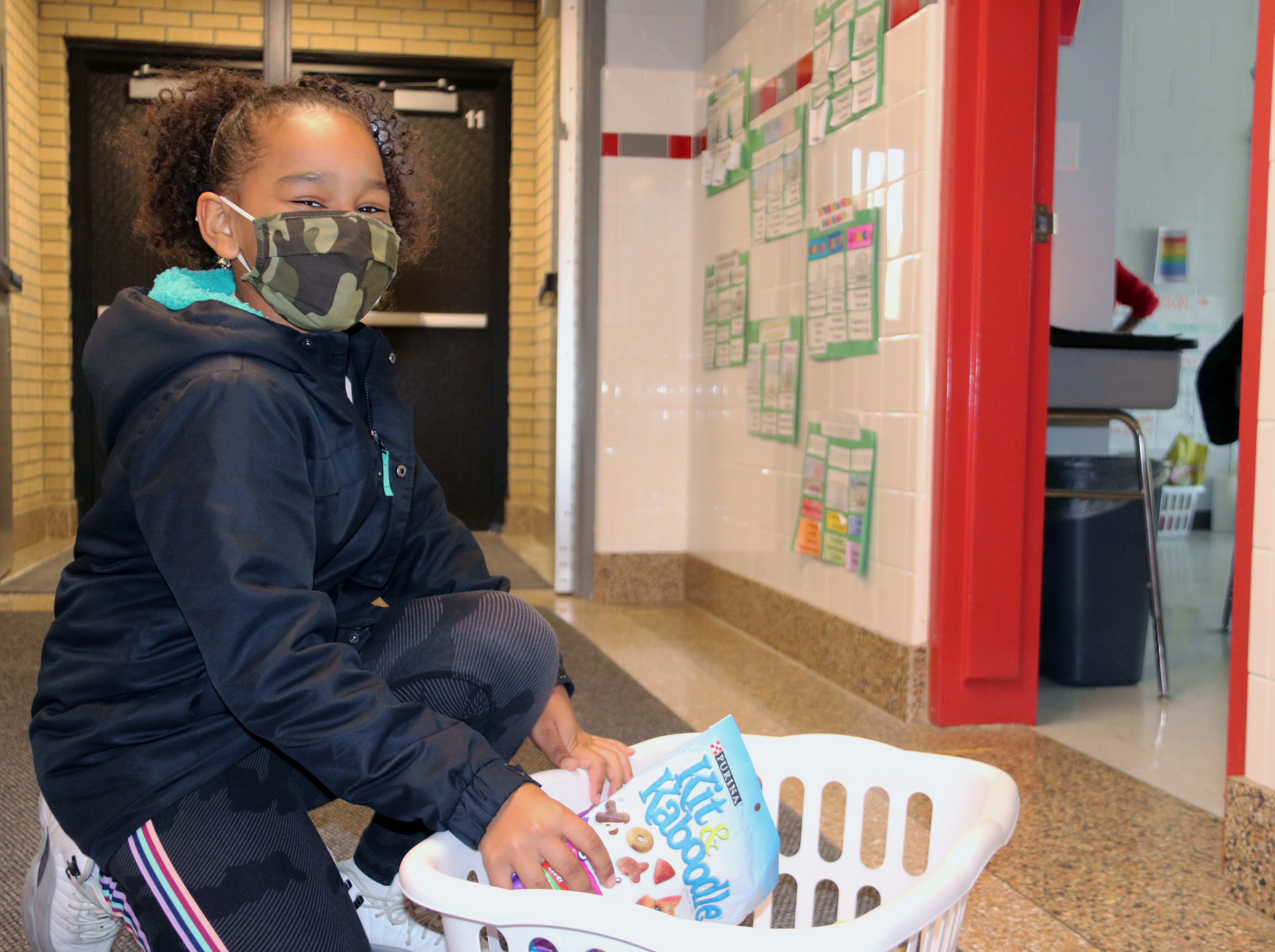 student collecting donations