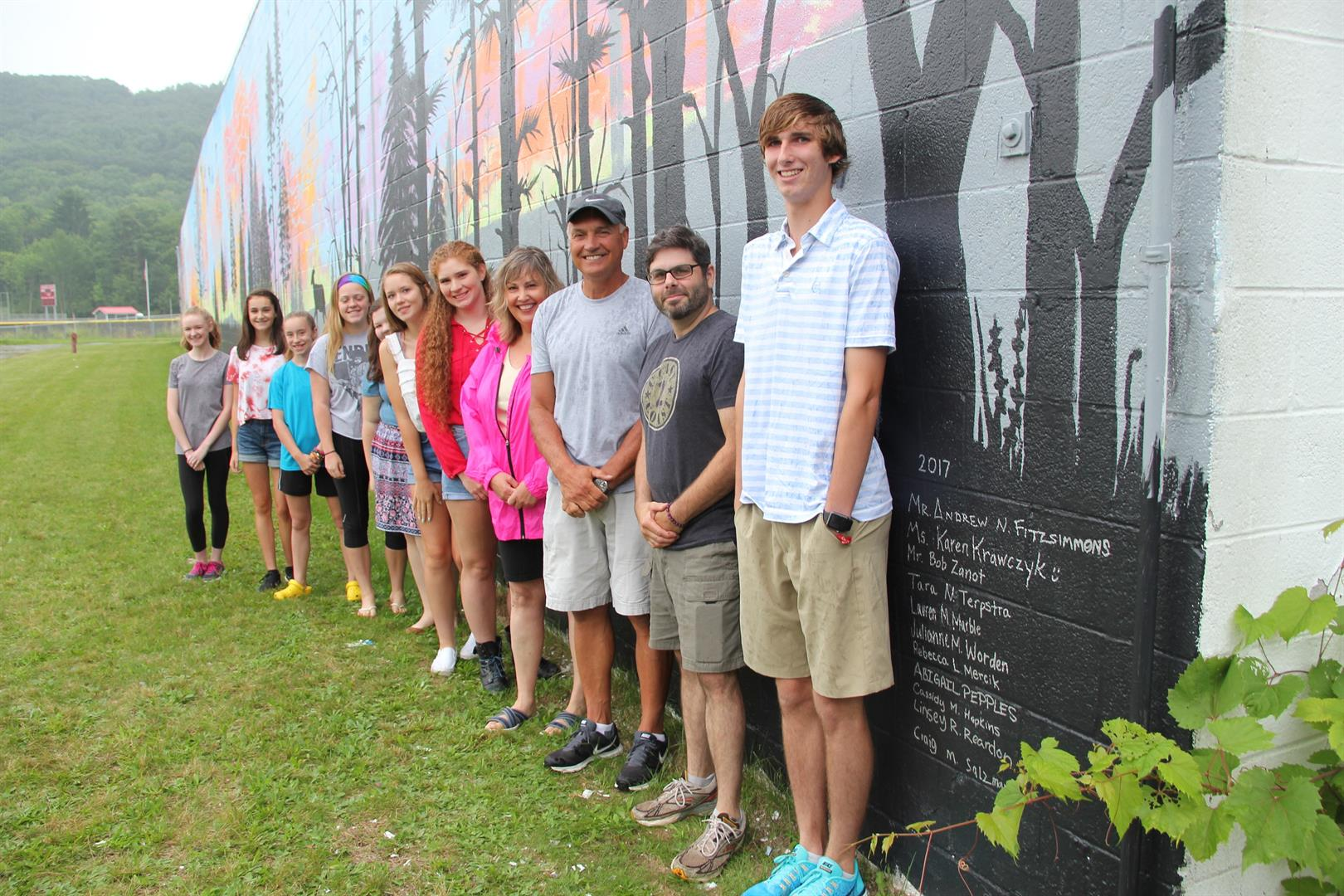 c v students and teachers stand by names on depot wall