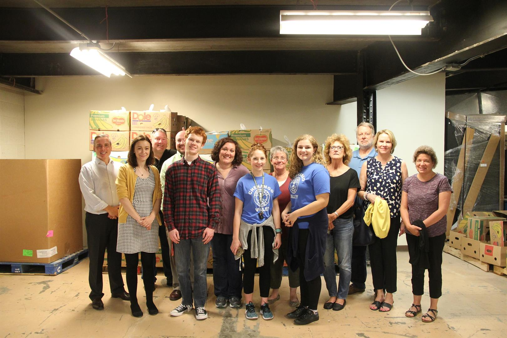 c v students staff and hillcrest rotary club members who helped fill bags of food for backpack program