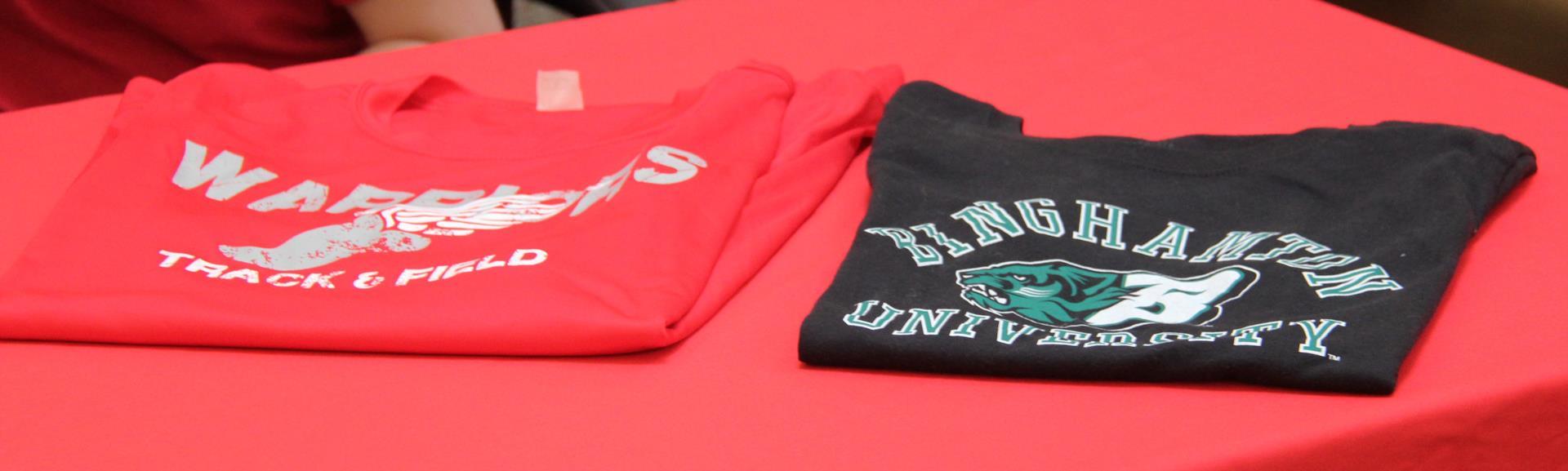c v shirt and binghamton university shirt