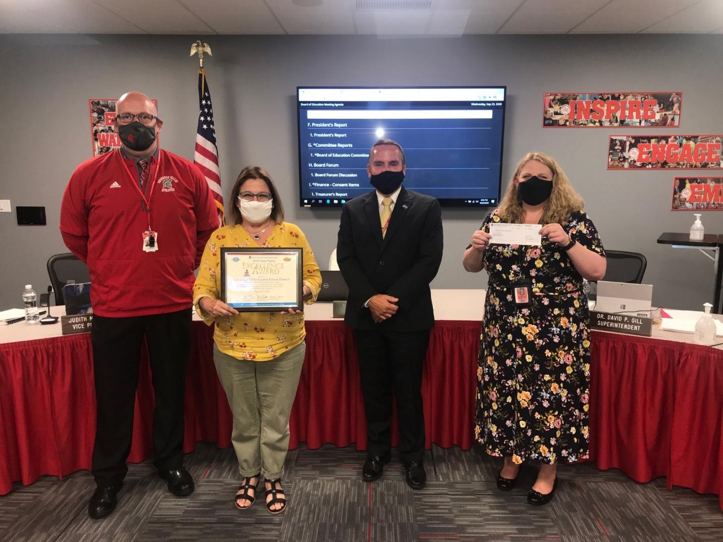 Chenango Valley representatives with school safety award