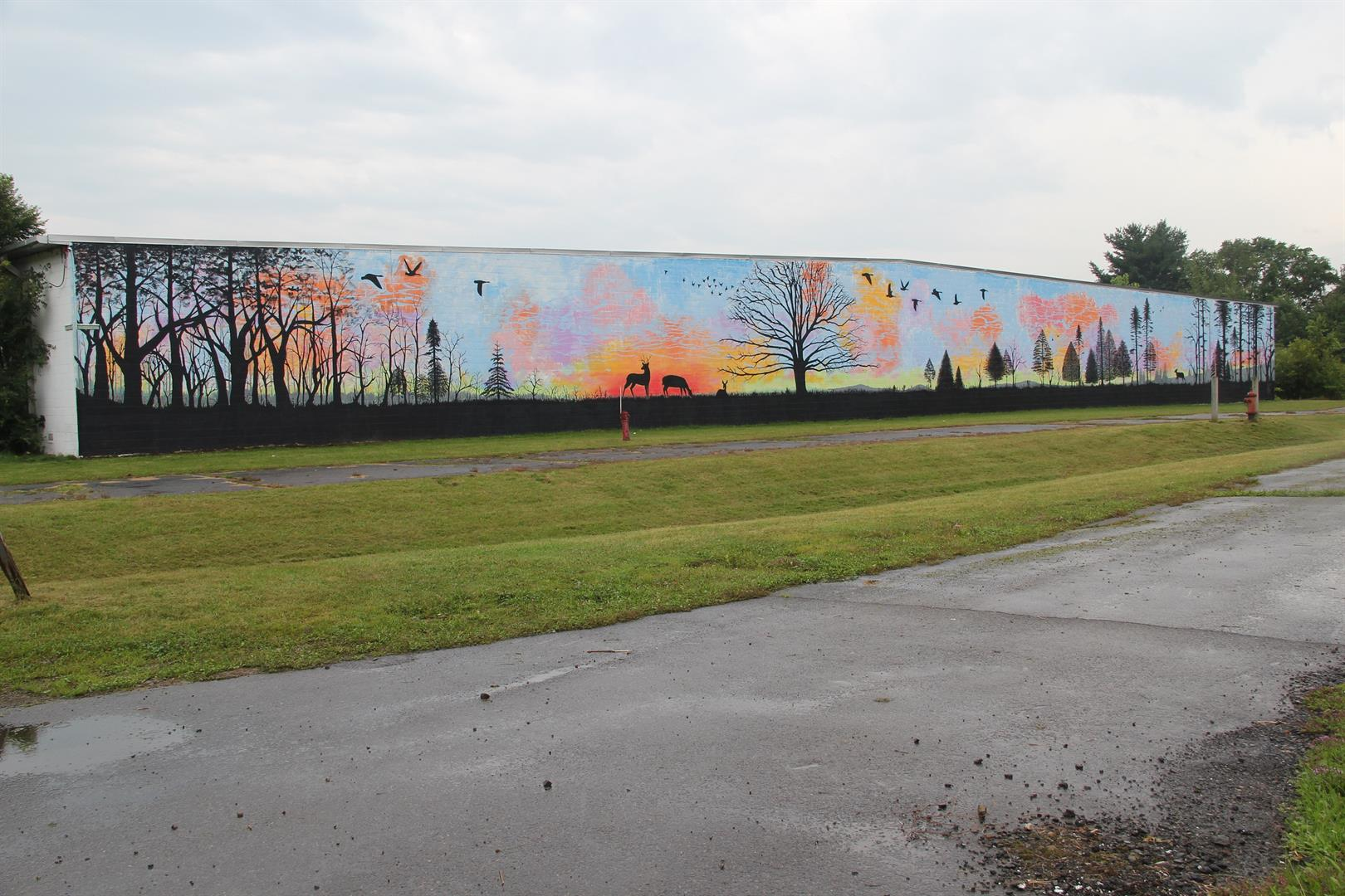 far shot of finished depot wall mural