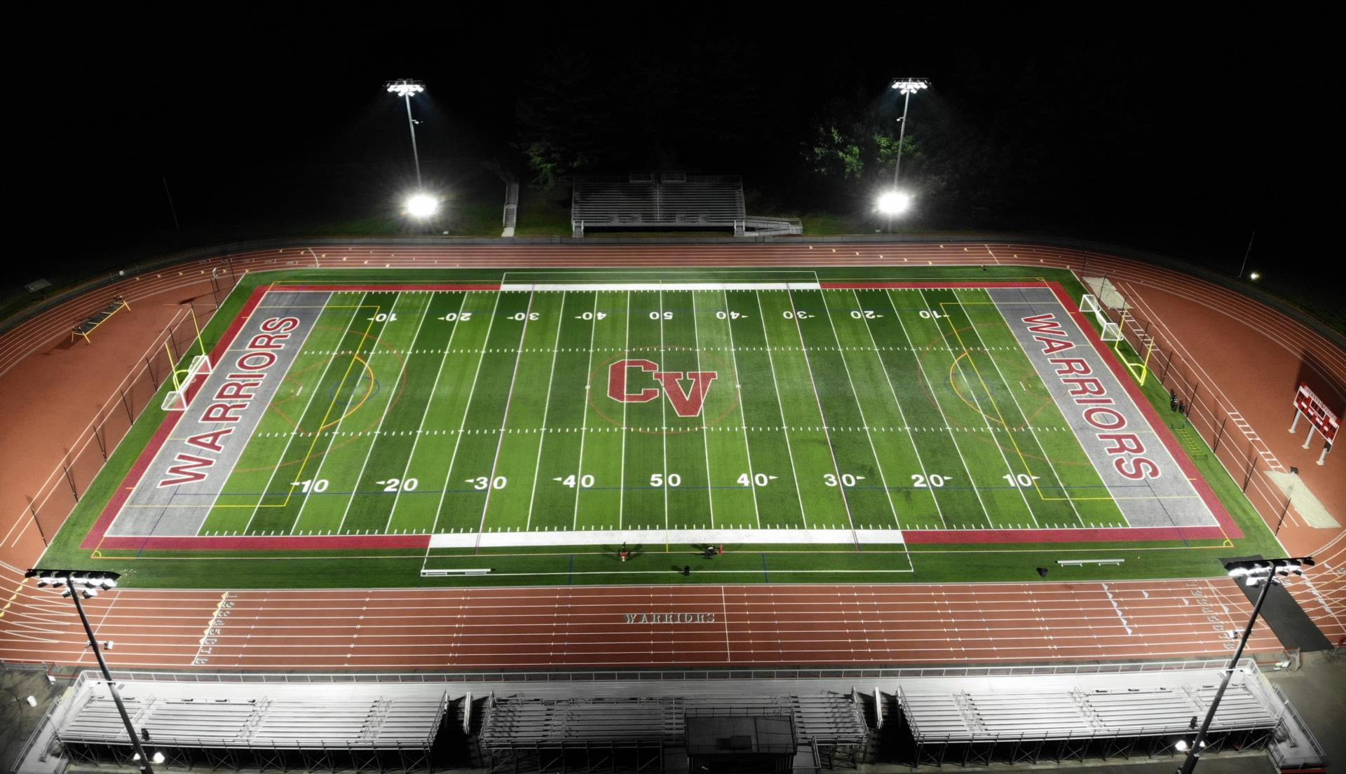 Warrior Stadium Field at night