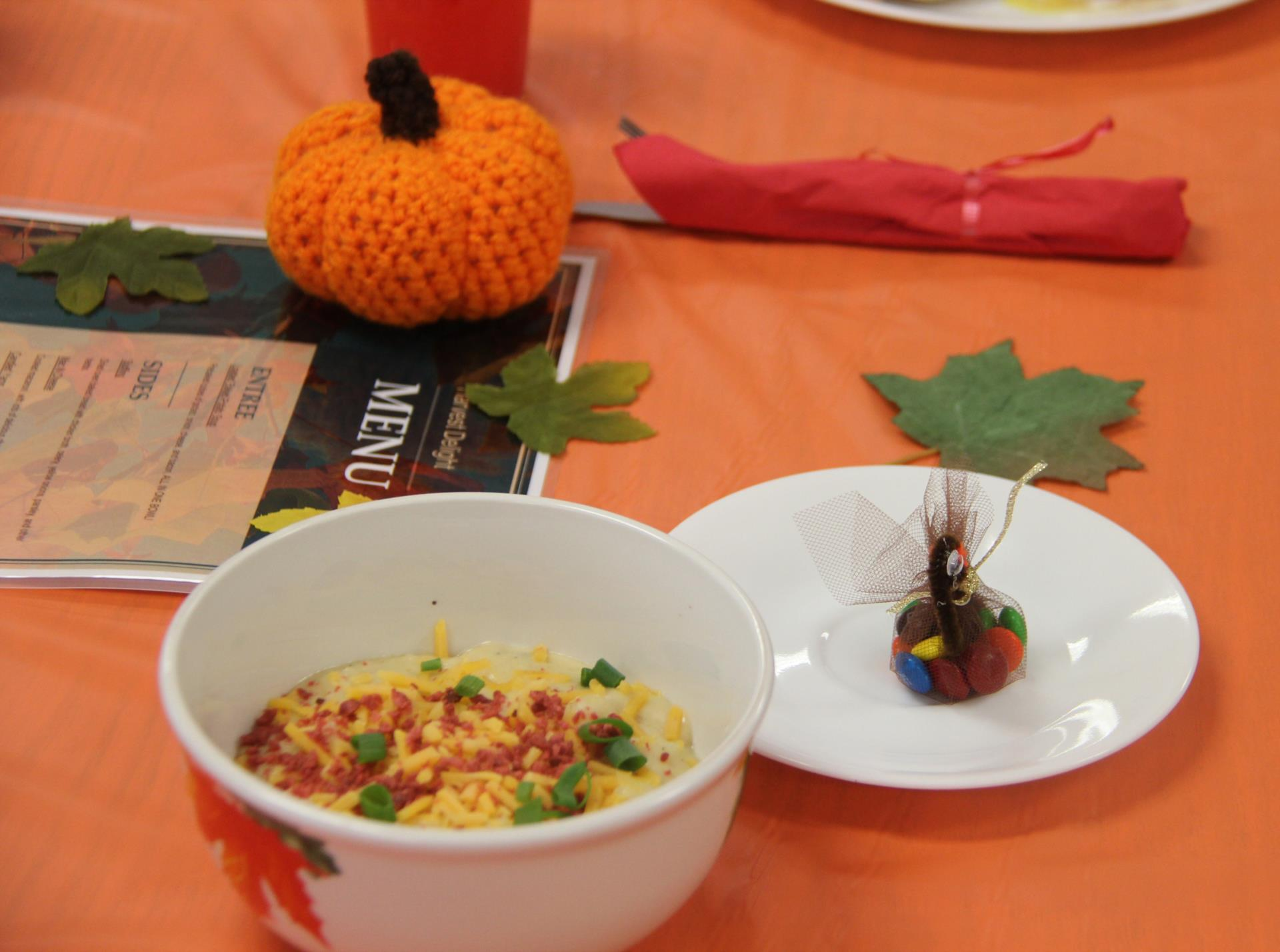 food and decorations on table