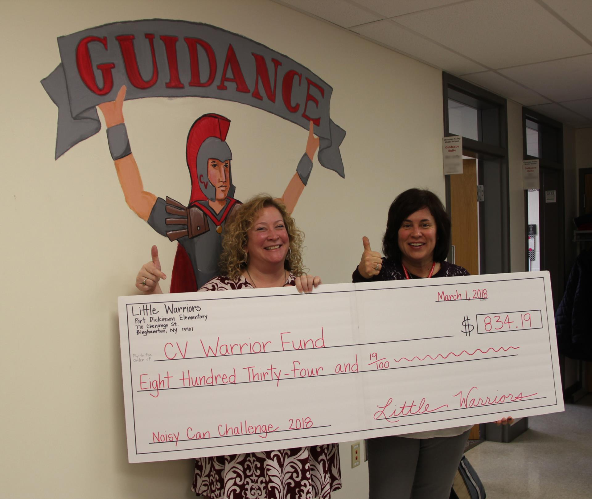 guidance counselors with check for warrior fund