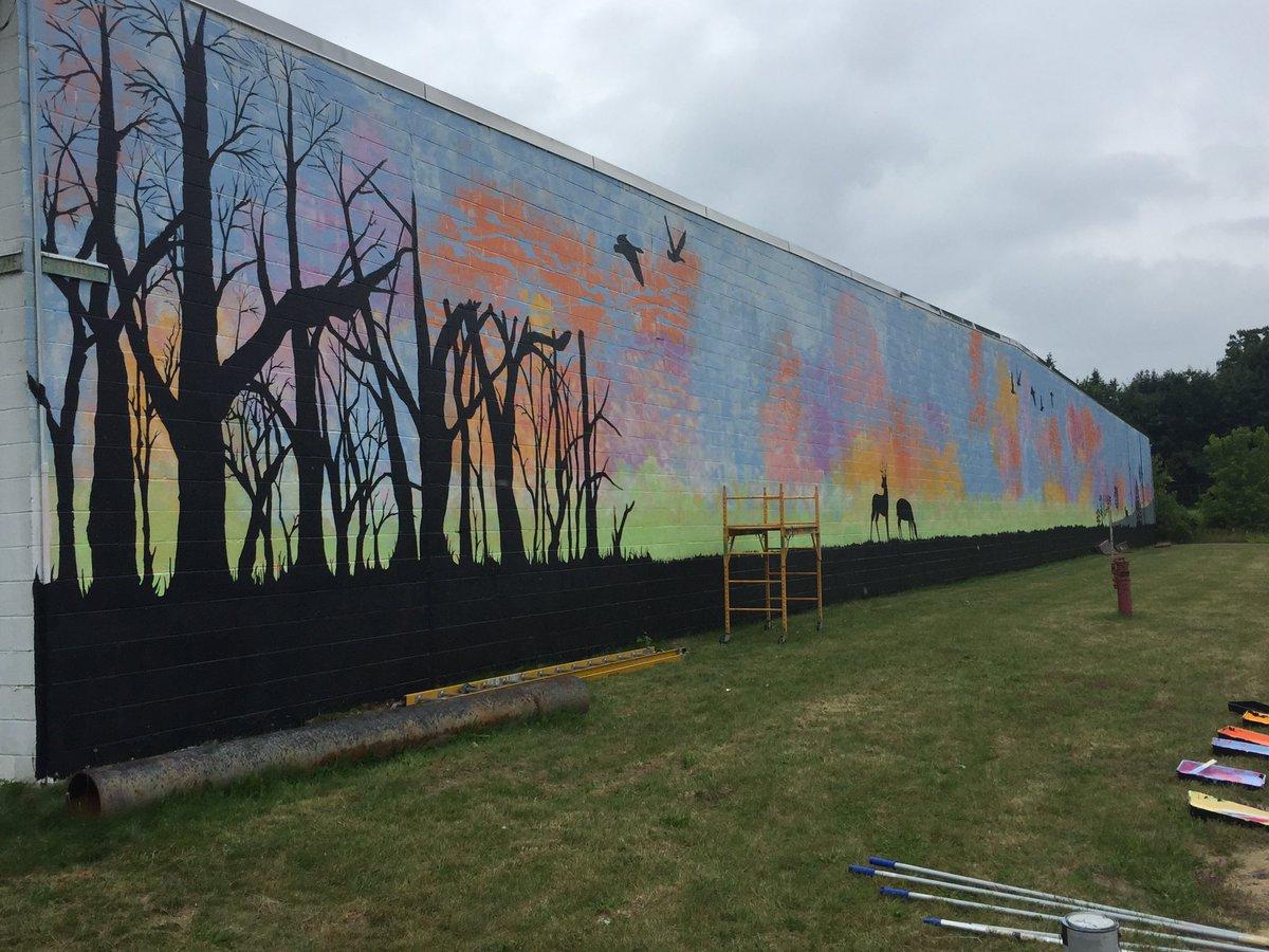 progress of depot wall art project from left side