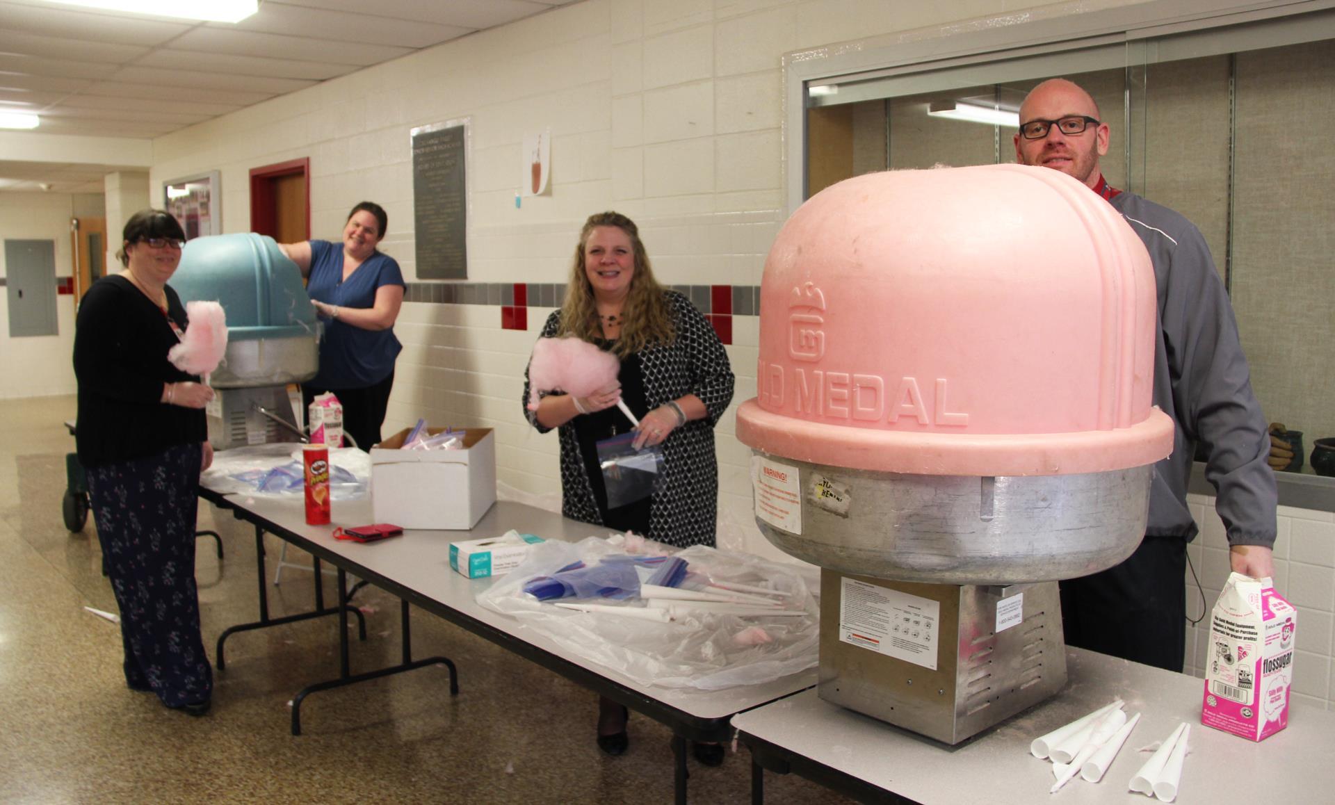 staff making cotton candy