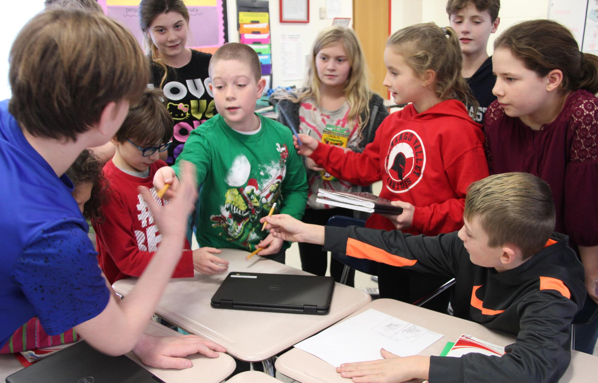 students acting charades activity