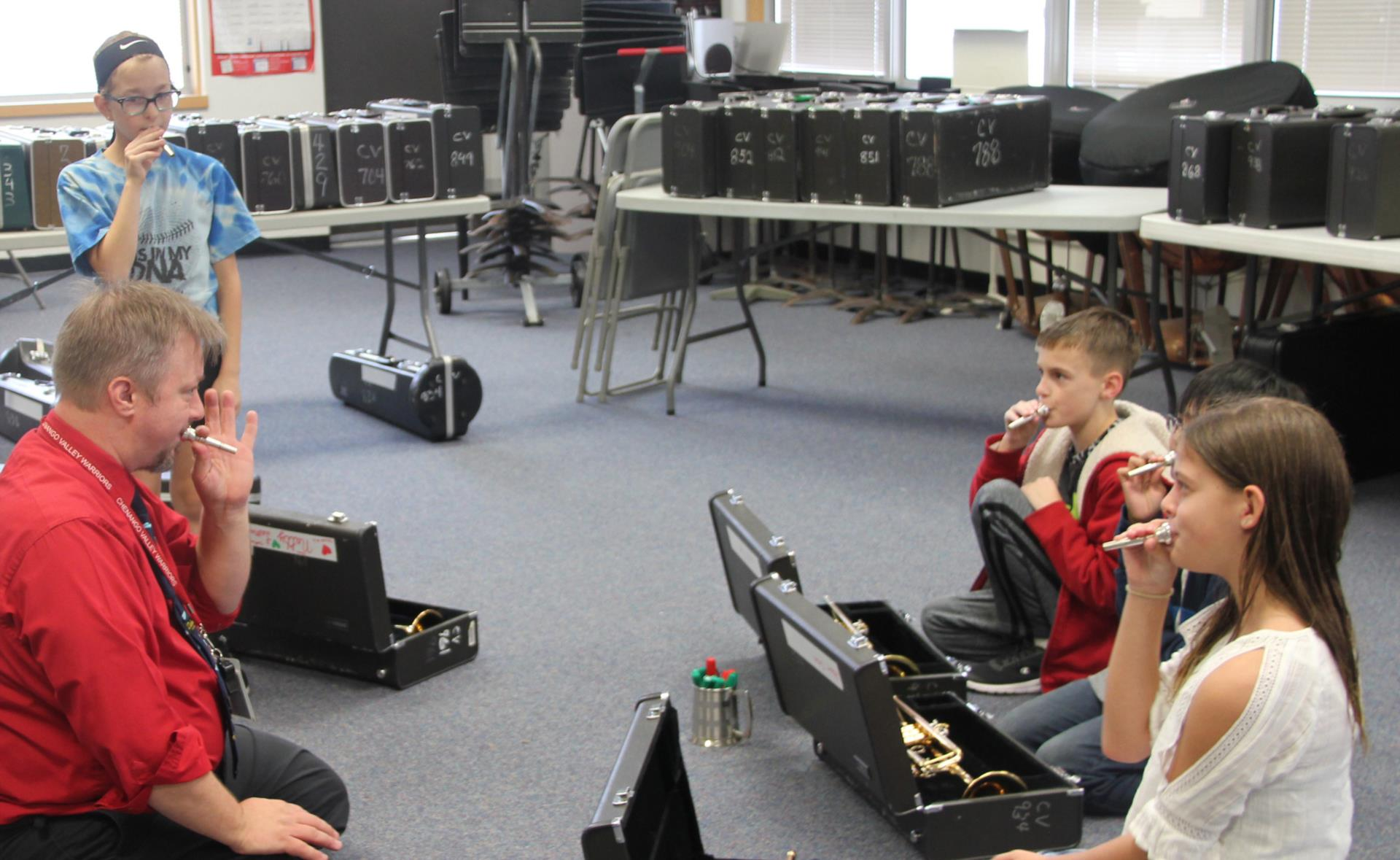 students learning about instruments
