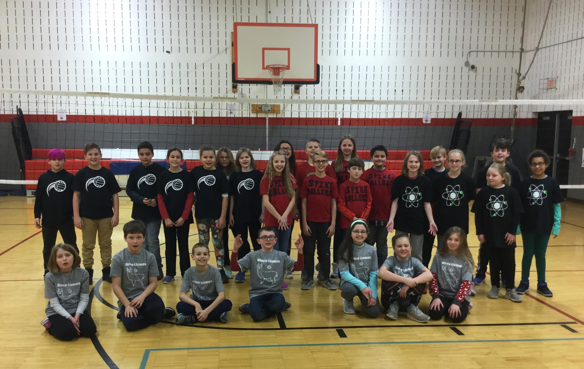 students wearing volleyball shirts